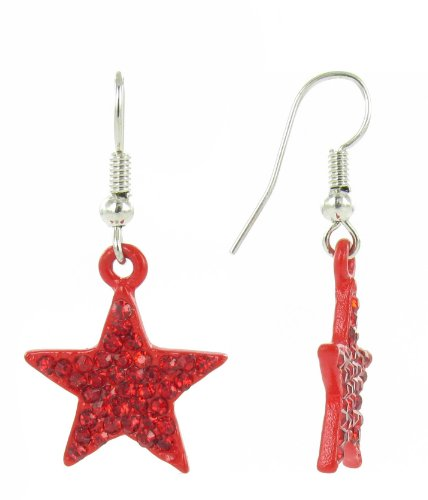 Red Rhinestone Crystal Star Fish Hook Earrings