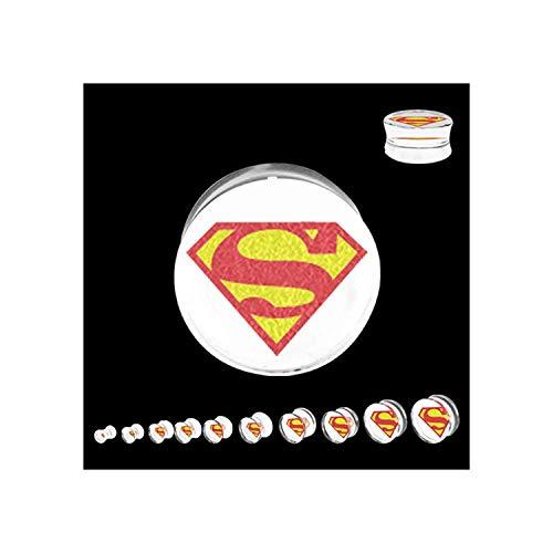DC Licensed Comics Superman Logo Double Flare Acrylic Plug Size: 7/16
