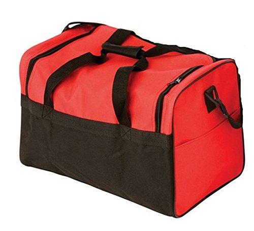 Sac de sport double en toile nylon 62 x 30 x 38 cm de couleur Noir/Rouge- Visiodirect
