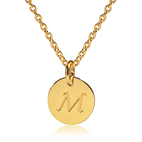 Three Keys Jewelry Stainless Steel 18k Gold Tone Initial Alphabet Disc Pendant Necklace 18