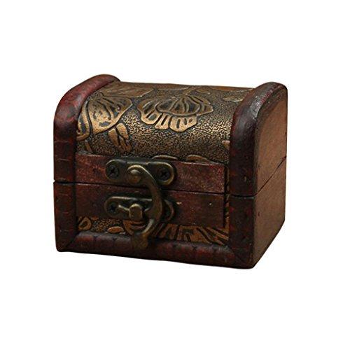 rinket Jewelry Storage Box Handmade Vintage Wooden Treasure Case ()