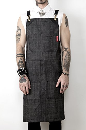 Under NY Sky Cargo Mesh Gray Apron – Cross-Back with Durable Denim, Leather Reinforcement and Split-Leg – Adjustable for Men and Women – Pro Chef, Barbecue, Barista, Bartender, Tattoo Artist Aprons