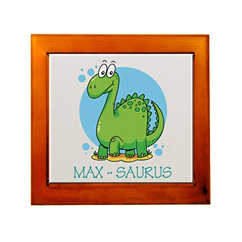 Personalized Custom Text Dinosaurs Name-Saurus Ceramic Tile in Wood Frame