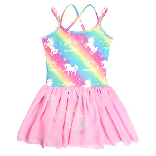 Sylfairy Toddler/Girls Dance Skirts Camisole Leotard with Cute Tutu Dress for Dance Gymnastics and Ballet Unicorn Rainbow (Multicolor, 5-6 - Dress Camisole Dance