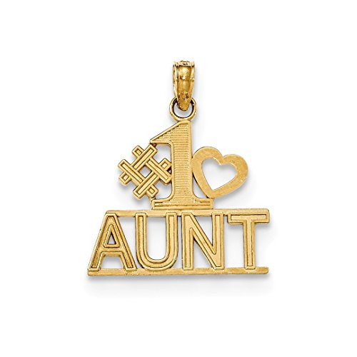 ICE CARATS 14kt Yellow Gold #1 Aunt Heart Block Pendant Charm Necklace Fine Jewelry Ideal Gifts For Women Gift Set From Heart 14kt Gold Charm Block