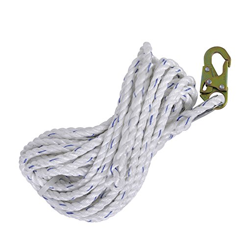 Fall Safe Harness - Peakworks Fall Protection V84084025 Vertical Lifeline Rope with Back Splice and Snap Hook, 25 ft. Length, White