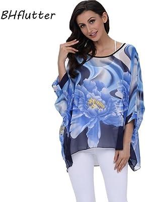 ASGHILL Boho 4Xl 5Xl 6Xl tallas grandes ropa de mujer camisa de gasa con estampado de rayas blusa de verano casual Batwing mangas mujeres Tops blusas, turquesa, 4Xl: Amazon.es: Deportes y aire
