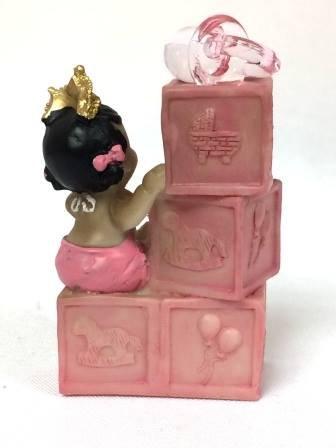 Ethnic Baby Girl Princess on Blocks Cake Topper Favor