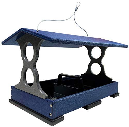 JCs Wildlife Large Blue/Gray Poly Fly-Thru Bird Feeder w/ Removable Seed Tray ()