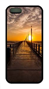 Apple iPhone 5/5S Cases and Cover Pier Sunset TPU Rubber Case for iPhone 5 and iPhone 1225S - Black
