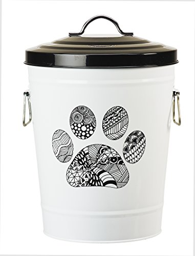 Amici Pet, A7YY022PR, Zentangle Collection Paw Metal Storage Bin, Food Safe, Push Top, 17 Pound Capacity