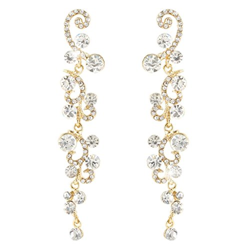 EVER FAITH Bridal Flower Wave Austrian Crystal Dangle Earrings Gold-Tone - Clear - Austrian Crystal Flower