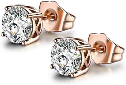 MASOP Women Cubic Zirconia 7mm Rose Gold Color Stud Earrings 6 color