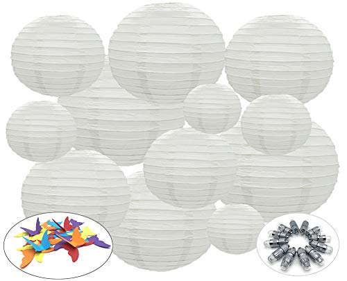 12 White Paper Lanterns with Lights by Party Girl Kim | Outdoor Decorative Round Hanging Paper Lights | Easy, Fun and Elegant - with Free Butterflies for Decoration (Large White with Lights) -