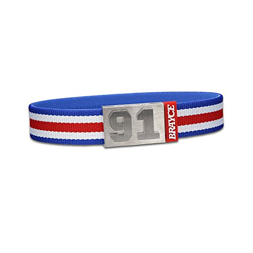 "fan products of BRAYCE Team Colors: Customize your jersey bracelet blue/white/red with your player number (0-99) 7 sizes (6,3"" – 8,7""): Hockey, Baseball, Basketball & Football"