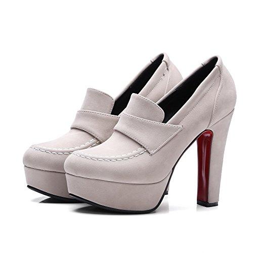 Apricot Women's Microfiber toe Odomolor Round Soild heels Pumps shoes High FCnngzq