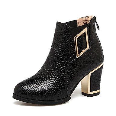 Hebilla Mujer Zapatos Tobillo Botas Tobillo Botines black Tacón redondo Botas Moda Semicuero Robusto Invierno el amp;M Botas hasta Dedo de Heart el Hasta E5RqP1g18
