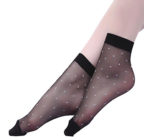 Qunson+Women%27s+10+Pairs+Polka+Dots+Ankle+High+Hosiery+Socks