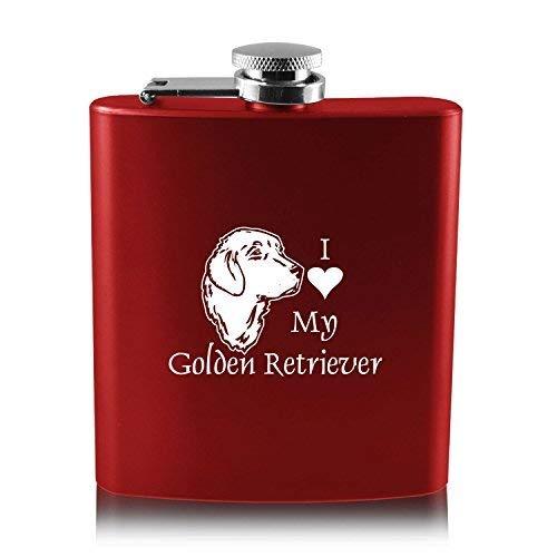 人気商品の 6オンスステンレス鋼フラスコ I – I Love Love My Golden retriever-red retriever-red B013RU4RC6, 雄勝町:ea97d21a --- application.woxpedia.com