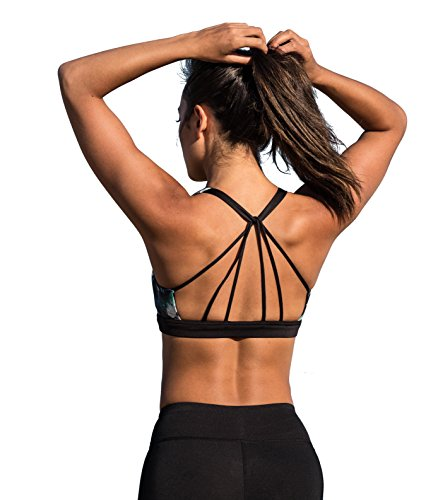 icyzone Padded Strappy Sports Bra Yoga Tops Activewear Workout Clothes for Women (S, Lotus) (Lotus Yoga Clothing)