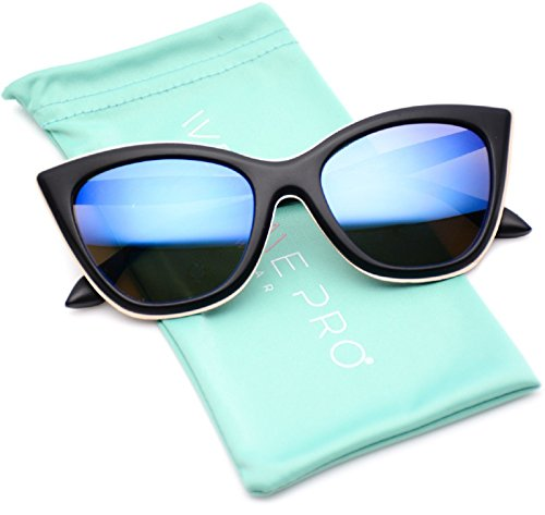 Tip Pointed Fashion Metal Mirrored Lens Cat Eye Sunglasses