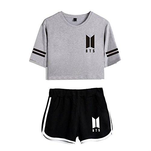 Camicetta Bts Maglietta Moda Ailient shirt Top Crop Grey4 Love T Breve Bluse Donna Pantaloncini Short Tear Yourself Fq656dxUv