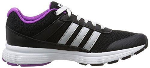 adidas Cloudfoam Vs City W, Chaussures de Sport Femme Noir / blanc / violet (noir essentiel / argenté mat / rose flashy)
