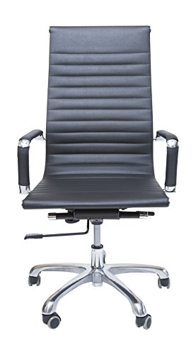 Price comparison product image BekChairs Executive High Back Chrome Plated PU Leather Office Small Business Chairs