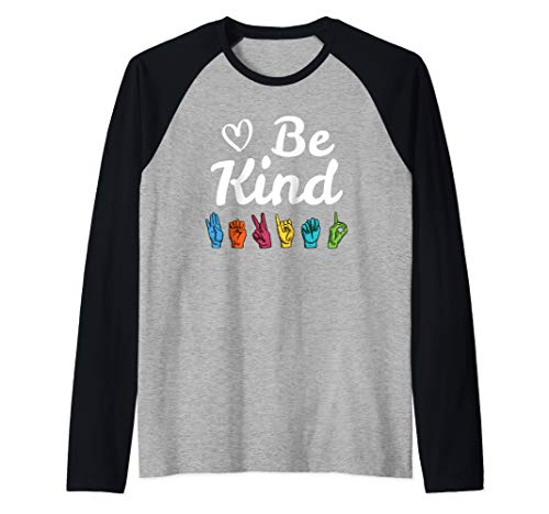 Be Kind Love ASL Sign Language Nonverbal Teacher Student Raglan Baseball ()