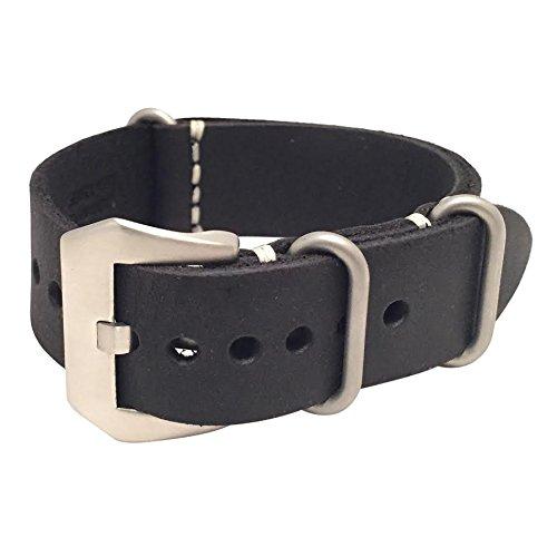 W&S Leather Zulu Watch Strap - Standard Buckle (22mm, Black)
