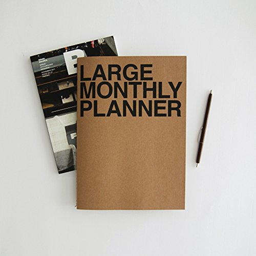 JSTORY Large Monthly Planner Lays Flat Undated Year Round Flexible Cover Goal/Time Organizer Thick Paper Eco Friendly Customizable Stitch Bound A4 16 Months 18 Sheets Brown