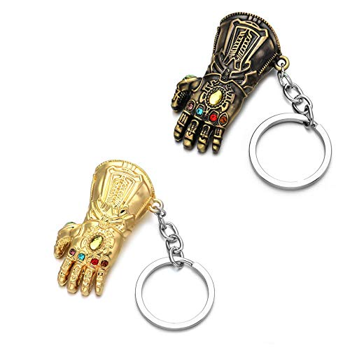 Sio & Tan Thanos Glove Keychain Nidavellir Infinity Gauntlet Key chain Key Ring (Bronze & Gold, 2 Pack)