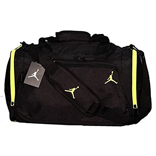 Nike Air Jordan Black And Green Duffel Gym Bag 8a1215 982 L 21 Inch 10 X Inches