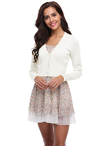 Abollria Women Solid Button Down Long Sleeve Cropped Bolero Cardigan (White,L)