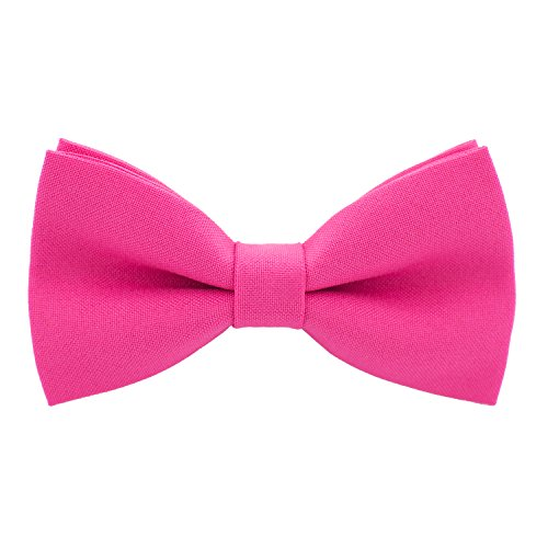 Classic Pre-Tied Bow Tie Formal Solid Tuxedo, by Bow Tie House (Small, Hot Pink)