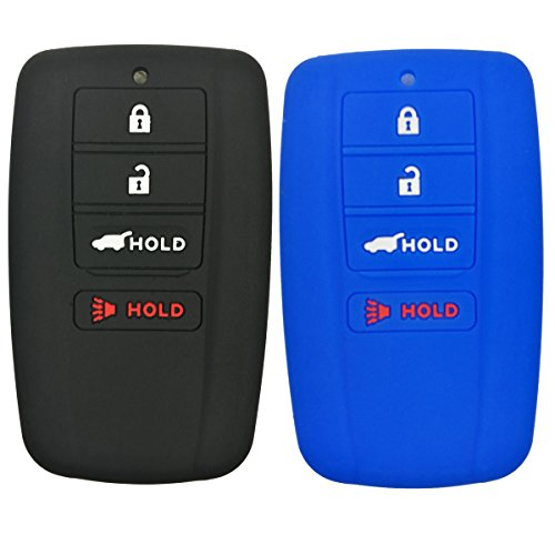 2Pcs Coolbestda Silicone Smart Key Fob Skin Cover Protector Keyless Jacket Remote Holder for Acura RLX RDX MDX ILX TLX 4buttons Smart Key Black Blue