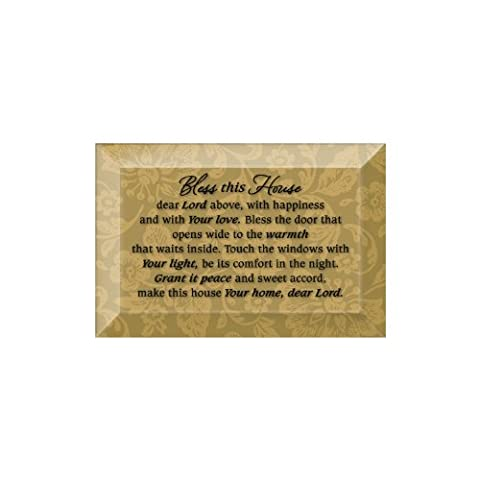 Bless This House Beveled Glass Plaque with Easel (New House Plaque)
