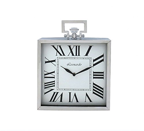 28 cm Square Silver Leonardo Mantle Clock With Handle lesser&pavey