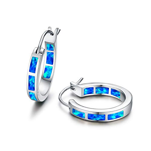 Tingle Silver Opal Hoop Earrings Sterlling Silver Earrings Blue Fire Opal Hoop Earrings For Women Sterling Silver Small Hoop Earrings For Girls (Blue Opal Small size) by Tingle