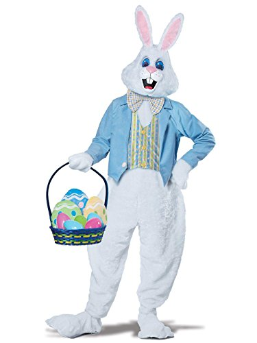 (California Costumes Men's Deluxe Easter Bunny Costume, White/Blue)
