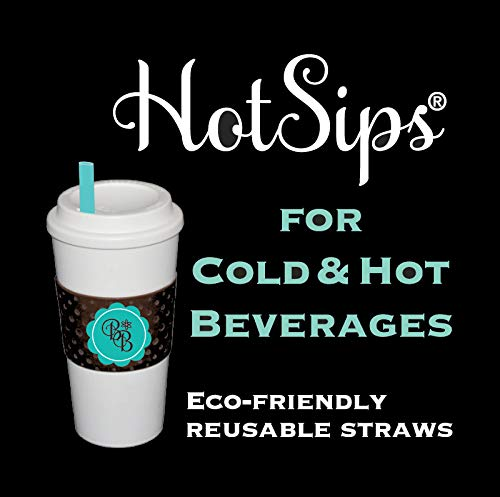 (HotSips Reusable Straws 2 Small + 2 Med with Travel Case, Navy w/Coral Stripe Reusable ECO Friendly Straws For Both Cold & Hot Beverages - 8oz - 16oz - Non Toxic BPA Free FDA Grade material Recyclable )