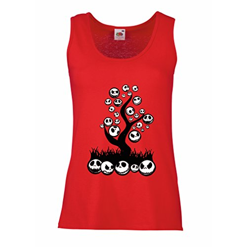 lepni.me Sleeveless t Shirts for Women The Nightmare Tree - Halloween Party Outfit (Small Red Multi Color)