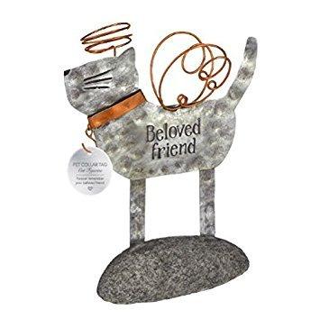 - Grasslands Road Beloved Friend Metal Pet with hook for Pet Collar Tag Remembrance Figurine (Cat)
