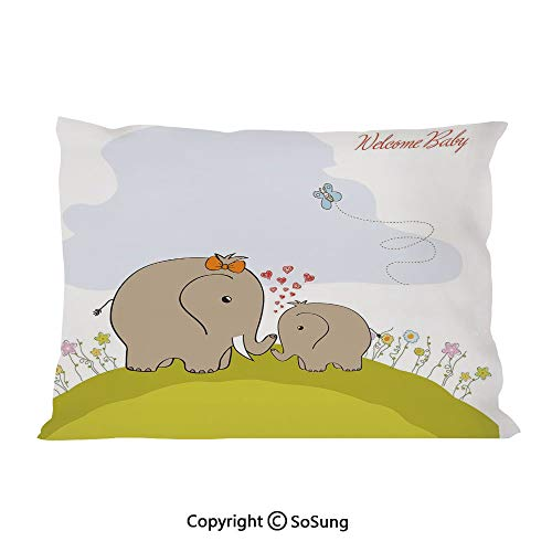 (Nursery Bed Pillow Case/Shams Set of 2,Baby Shower Inspired with Mother Baby Elephant Love Children Decorative King Size Without Insert (2 Pack Pillowcase 36