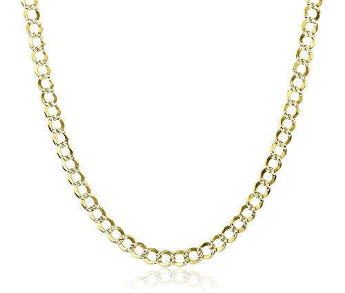 10k Yellow Gold 3.8mm Solid Pave Cuban Chain - 8, 18, or 22 Inch (22 Inches)