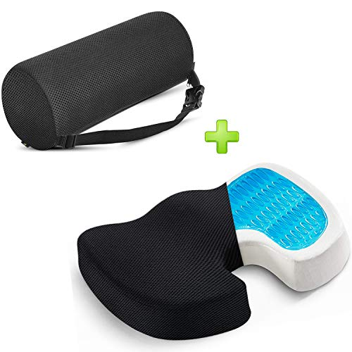 Lumbar Support Pillow Memory Foam Lower Back Cushion with Adjustable Straps Perfect for Computer - Office Chair - car seat/Breathable Machine Washable Cover (Roll & Gel Seat Set)