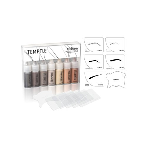 Airbrush Makeup Stencil (Temptu Eyebrow Kit with 7 Airbrow Colors, 5 Airbrush Stencils, and 1 Shaper)