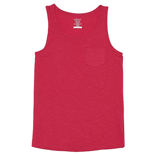 French Toast Girls' Big Slub Pocket Tank, Fuchsia Burst, L (10/12) ()