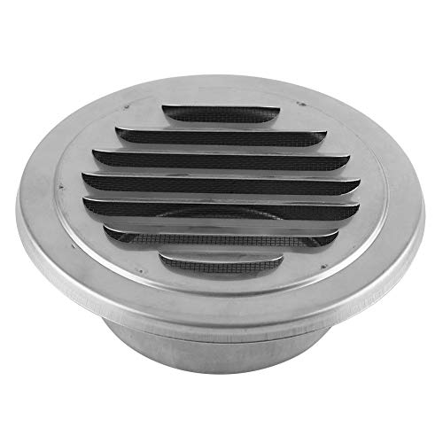 Round Air Vent Stainless Steel Wall Air Vent Flat Grille Ducting Ventilation Cover Outlet Insect Mesh for Bathroom Office Kitchen Ventilation