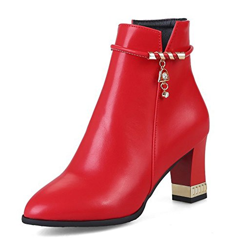 Rouge Bottines Boots Sexy Femme Cheville Low Pointu Strass Bout a6vxfqT